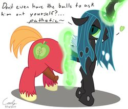 2015 animal_genitalia big_macintosh_(mlp) caely changeling equine female friendship_is_magic fur horse looking_at_viewer magic male mammal my_little_pony penis pony queen_chrysalis_(mlp) simple_background text transformation wings