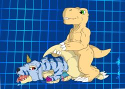 agumon all_fours alternate_version_available anal anal_sex balls barefoot digimon digital_media_(artwork) doggy_style erection from_behind gabumon horn humanoid_penis naughty_face nude open_mouth partially_retracted_foreskin pelt penetration penis precum saliva saliva_string samaraka sex signature tongue tongue_out uncut