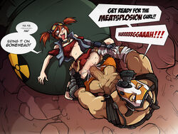 blue_eyes blush borderlands brown_hair cum cum_in_pussy cum_inside female gaige goggles krieg lying male nipples open_mouth penis psycho pussy sex sparrow speech_bubble tongue tongue_out twintails vaginal_penetration