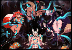 4girls animal_ears bandages bent_over black_hair boots breast_grab breasts cosplay cum cum_in_pussy cum_inside cum_on_ass cum_on_breasts dark_skin female halloween hat jack_o'lantern mask mummy navel nipples optionaltypo oral_insertion orange_hair panties_down pants_down pirate_hat pussy restrained sitting spread_pussy tail tentacle white_hair witch