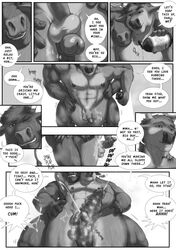2015 abs anthro antlers balls biceps big_muscles bovine cattle cervine clothing comic dialogue english_text erection fur horn humanoid_penis male male/male mammal masturbation monochrome muscular nipples nude open_mouth pants pecs penis reindeer rov sex shower simple_background text toned vein water wet