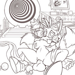 balls big_balls breasts canine captain_jerkpants corruption_of_champions crossover female fox goblin humanoid male male/female mammal on_top penis pussy reverse_cowgirl_position sex sonic_(series) tails tamani_(coc) wingding_eyes