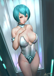 ariverkao blue_hair cleavage female large_breasts leotard short_hair solo standing