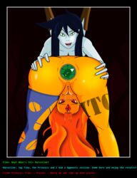 adventure_time anal blue_hair boots buttplug exclamation(artist) flame_princess green_eyes head_down_ass_up marceline orange_hair red_eyes text vampire
