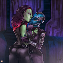 2girls alien bald belt blue_skin brown_hair closed_eyes elbow_pads fingerless_gloves gamora gloves gradient_hair green_skin guardians_of_the_galaxy kiss kissing long_hair marvel marvel_comics multicolored_hair multiple_girls nebula pads red_hair tophatharry two-tone_hair