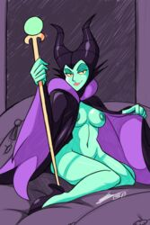 bed bigdead93 black_eyes breasts cape disney female green_skin horns looking_at_viewer maleficent naked_cape nipples nude presenting sleeping_beauty smile solo staff wariza weapon wide_hips yellow_sclera