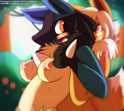 2015 anthro areola big_breasts black_fur blue_fur blush breasts chest_tuft duo eevee female fluffy fur grope hair looking_back lucario multicolored_fur nintendo nipples nude open_mouth orange_eyes outside pokemon purple_eyes saintversa smile spikes surprise tan_fur teeth tuft video_games