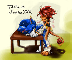 anal anal_sex anthro dinosaur drooling duo gatoh_(artist) hedgehog male male/male mammal penetration raptor reptile saliva scalie sex sonic_(series) sonic_the_hedgehog sweat talin tongue toony wet wraps