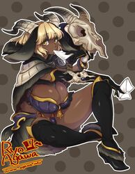 agawa_ryou animal_ears blonde_hair boots cleavage dark_skin elbow_gloves female gloves horns large_breasts short_hair sitting solo yellow_eyes