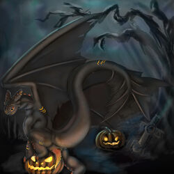 2015 animal_genitalia barbs cemetery claws dark dolphinwarrior dragon erection fan_character feral grave halloween holidays how_to_train_your_dragon looking_at_viewer looking_back male night_fury nude outside penis presenting pumpkin raised_leg raised_tail reptile scalie scar slit smile solo teeth toothless tree wings yellow_eyes