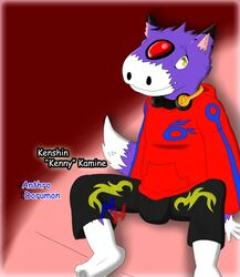 anthro bulge clothing digimon dorumon fluffy_tail heibanhikaru male male_only solo tail