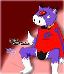 anthro bulge clothing digimon dorumon fluffy_tail heibanhikaru male male_only solo tail underwear