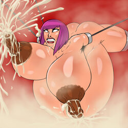amputee ass clenched_teeth huge_breasts lactation nude oboro pregnant purple_hair quadruple_amputee rampage0118 saliva taimanin_asagi tied_up