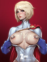areola_slip areolae bandaid bandaids_on_nipples blonde_hair blue_eyes blue_gloves blush breasts breasts_outside cape cum cum_on_breasts dc_comics female gloves large_breasts looking_at_viewer parted_lips paul_kwon power_girl short_hair solo torn_clothes upper_body