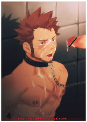 abs bara censored collar cum facial gay leash male_focus muscle pecs penis restrained yaoi