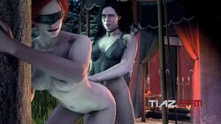 3d animated black_hair blindfold breasts female forest from_behind futa_on_female futanari large_breasts long_hair nipples nude red_hair sex source_filmmaker standing the_witcher the_witcher_3 tiazsfm triss_merigold yennefer