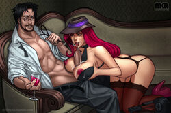 alcohol alternate_costume ass beard black_hair blue_eyes blush bra breasts breasts_outside brown_eyes couch cum cum_on_breasts cup facial facial_hair female garter_straps glasses gun hat high_heels kneeling large_breasts league_of_legends leash licking licking_penis long_hair male mikiron miss_fortune necktie nipples open_bra open_clothes open_shirt paizuri penis platform_footwear platform_heels red_hair short_hair sitting smile thighhighs tommy_gun tongue tongue_out weapon wine wine_glass