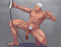 abs archer artist_request bara barefoot censored fate_(series) feet male male_only muscle nude pecs penis pubic_hair pun solo toes white_hair