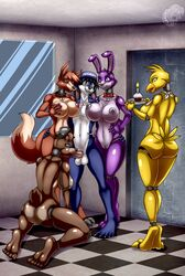 1boy 4girls animatronic ass ass balls bonnie_(fnaf) breasts chica_(fnaf) five_nights_at_freddy's fivesome foxy_(fnaf) freddy_(fnaf) furry large_breasts libra-11 oral penis pussy robot rule_63 sex
