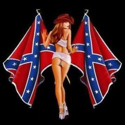 1girl ass confederate_flag cowgirl female flag hat heels high_heels solo
