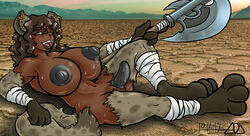 adjatha anthro axe big_breasts blush breasts brown_hair ear_piercing erect_nipples erection fur grey_eyes hair herm hyena intersex lying mammal melee_weapon nipples nude on_side open_mouth penis piercing pose sitting spots spotted_fur sweat weapon