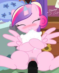 an-tonio bed black_penis blush clitoris friendship_is_magic fur heart horn mammal my_little_pony on_bed penetration penis pillow pink_fur princess_cadance_(mlp) pussy pussy_juice sex shutterflyeqd wings