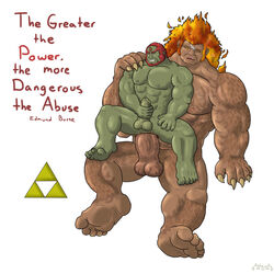 5_fingers abs anal balls bara biceps chair_position demise demon digital_media_(artwork) duo erection fire_hair from_behind ganondorf jmcstallion male male/male masturbation monster muscle muscular nipples pecs penis quote sex size_difference triforce