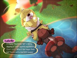 animal_crossing anthro ass big_thighs black_nose blush bourbon_(artist) breasts brother_and_sister brown_fur canine chubby claws closed_eyes cunnilingus digby_(animal_crossing) duo english_text female floatation_device fur incest isabelle_(animal_crossing) male mammal nintendo oral outside penis pond public pussy saliva sex shih_tzu siblings skinny_dipping straight sunset swimming text tongue tongue_out tree undressed vaginal_penetration vwet yellow_fur