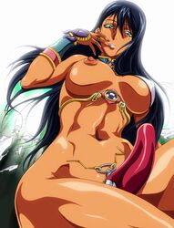 absurdres black_hair breasts dark_skin dildo female female green_eyes highres jewelry large_breasts long_hair looking_at_viewer lots_of_jewelry lunaluna_(queen's_blade) nipples queen's_blade queen's_blade_rebellion ring solo strap-on torn_clothes