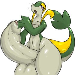 2015 anthro balls big_balls girly green_scales half-closed_eyes huge_balls hyper hyper_balls hyper_penis looking_at_viewer male multicolored_scales nintendo nude open_mouth penis pinup pokémorph pokemon pose pumpkybutt scales scalie simple_background snivy solo standing surprise thick_tail thick_thighs two_toned_scales uncut video_games white_background wide_hips