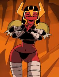 alien alien_girl animated areola ben_10 bouncing_breasts breasts dboy female female_only flashing four_arms helmet large_breasts looma_red_wind multiple_arms multiple_eyes nipples red_skin smile solo tetramand