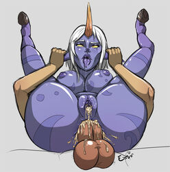 ahe_gao anal blue_skin breasts cum_in_ass cum_in_pussy female folded fucked_silly full_nelson horn inverted_nipples league_of_legends legs_up male pointy_ears pussy saliva sex soraka tongue_out