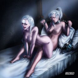 2girls bed blush blush bondage breasts caucasian collar diana dota_2 freckles helmet league_of_legends light_skin luna luna_(dota) marmar moaning navel nipples nude open_mouth reverse_cowgirl white_hair yuri yuri