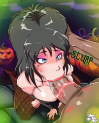 animated black_hair blowjob blue_eyes bouncing_breasts breasts cleavage elvira fellatio female fishnets gmeen hand_on_head high_heels kiss_mark kneeling large_breasts large_penis lipstick lipstick_mark male oral penis pumpkin runny_makeup saliva sex straight