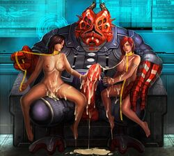 2015 2girls after_rape after_sex alien bondage breasts brown_hair color commander_shepard cum cum_on_body cum_on_breasts cum_on_face cum_puddle ecoas facial femshep forced interspecies leash mass_effect miranda_lawson nude penis rape red_hair runny_makeup sex_slave shadow_broker tears uncensored