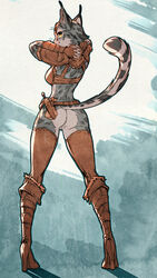 anthro armor ass belt boots bottomless bra clothed clothing dagger edit feline female fingerless_gloves footwear gloves half-dressed hands_behind_back high_heels inanna-nakano khajiit knife looking_at_viewer looking_back mammal melee_weapon pussy rear_view skyrim solo the_elder_scrolls unconvincing_armor underwear video_games weapon