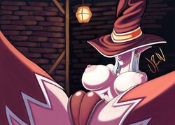 big_breasts big_nipples breasts camel_toe clothing elf female hat humanoid legwear nipples not_furry pinup pointy_ears pose solo thigh_highs tight_clothing underwear urw wizard_hat