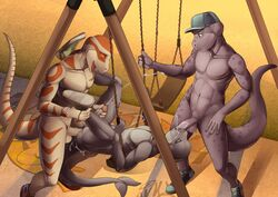 2015 anal anal_sex anthro balls cetacean corn_snake cum cum_in_ass cum_in_mouth cum_inside cum_while_penetrated derrick dinosaur dolphin erection fellatio group group_sex hextra humanoid_penis male male/male mammal marine nude oral penetration penis perry_(hextra) reptile scalie sex smile snake stefan_(hextra) swingset threesome twinkle-sez tyrannosaurus_rex