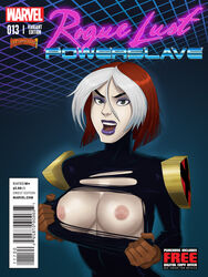 bodysuit breasts brown_hair comic cover female gloves large_breasts lips lipstick makeup marvel marvel_comics multicolored_hair nipples open_mouth page purple_lips purple_lipstick rogue rogue_lust_powerslave short_hair solo sunsetriders7 teeth tongue torn_clothes two-tone_hair white_hair x-men x-men_evolution