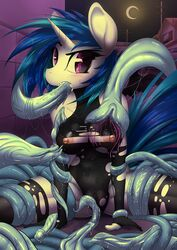 2015 anthro anthrofied areola blue_hair breasts camel_toe clothing cum cum_in_mouth cum_inside equine female friendship_is_magic hair horn looking_at_viewer mammal mirapony my_little_pony nipples oral outside penis_tentacles solo spread_legs spreading sweat tentacle torn_clothing unicorn vinyl_scratch_(mlp)