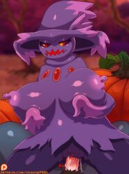 2015 animated anthro big_breasts blush breasts erection female hat magic_user male mammal mismagius nintendo nipples nude open_mouth orange-peel penetration penis pokemon pussy red_eyes sex smile solo spirit straight vaginal_penetration video_games witch
