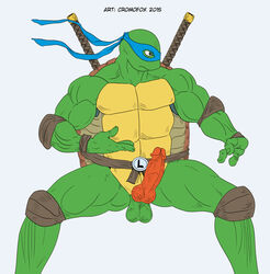 2015 3_fingers anthro balls bandana belt biceps cromofox_(artist) erection fighting_stance green_skin katana leonardo_(tmnt) male mask melee_weapon muscular muscular_male nude pads penis pose reptile scalie shell simple_background solo standing sword teenage_mutant_ninja_turtles turtle weapon white_background