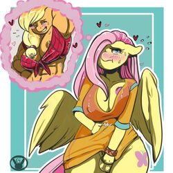 animal_genitalia anthro applejack_(mlp) areola arnachy balls big_breasts breasts cleavage clothed clothing dickgirl earth_pony equine erect_nipples erection female fluttershy_(mlp) friendship_is_magic horse horsecock intersex mammal my_little_pony nipple_slip nipples pegasus penis pony precum wings