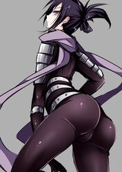 1boy armor artist_request ass black_eyes black_hair bodysuit bulge dat_ass facepaint from_behind looking_down male_focus male_only ninja onepunch_man onsoku_no_sonic scarf short_hair skin_tight solo