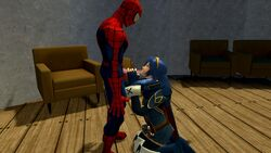 3d blowjob blue_eyes crossover female fight fire_emblem fire_emblem:_awakening fire_emblem_awakening game long_hair lucina male marvel marvel_comics nintendo open_mouth peter_parker spider-man super_smash_bros. tagme