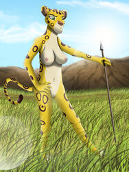 anthro breasts clitoris clothing darthmaul1999 disney feline female fuli hunting lens_flare mammal melee_weapon nipples nude polearm pussy spear the_lion_guard the_lion_king tribal weapon