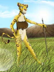 anthro bottomless clitoris clothed clothing darthmaul1999 disney feline female fuli half-dressed hunting lens_flare mammal melee_weapon polearm pussy spear the_lion_guard the_lion_king tribal weapon
