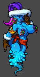 2015 blue_skin clenched_teeth demien djinn feather female gloves monster_girl nipple_piercing piercing pointy_ears ring solo