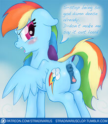 2015 anus ass blush clitoral_winking clitoris cutie_mark dialogue dock english_text equine female feral friendship_is_magic hair mammal multicolored_hair my_little_pony open_mouth outside patreon pegasus pussy rainbow_dash_(mlp) rainbow_hair solo stradivarius tears text wings