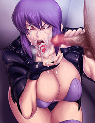 black_gloves black_panties breasts bukkake censored cleavage closed_eyes clothed_female_nude_male cum cum_in_mouth cum_on_fingers cum_on_tongue facial female fingerless_gloves ghost_in_the_shell gloves handjob huge_breasts kusanagi_motoko leather_jacket lips male_pubic_hair mosaic_censoring open_mouth panties penis pubic_hair purple_hair sawao short_hair skindentation straight thighhighs tongue tongue_out underwear